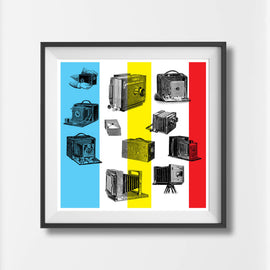 'VINTAGE CAMERAS' Retro vintage camera photogaphic design gallery art print - 'Unframed'