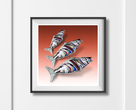 Murano Glass Fish!  Retro fine art style Italian kitsch mid century art print - 'Unframed'