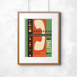 'TELECOMMUNICATIONS PRINT' retro mid century Continental phone advertising display MCM gallery art print - 'Unframed'