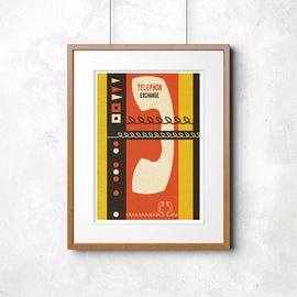 'TELEPHON EXCHANGE' retro mid century telecommunications Continental phone advertising display MCM gallery art print - 'Unframed'