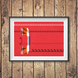 PRIME MINISTER CALLING! -  retro Union Jack telephone British Isles England patriotic flag call phone telecoms design gallery art print - 'Unframed'