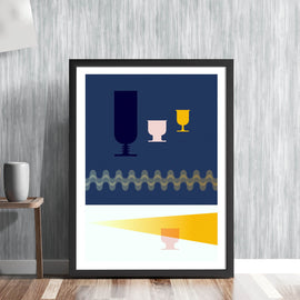 'THE AFTER PARTY' - retro mid century minimal drinks party glasses in blue illustration gallery art print - 'Unframed'