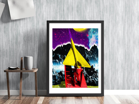 'ROCKET TO THE STARS' Retro mid century fifties style spacecraft launchpad space travel astonauts outer space exploration universe solar system gallery art print - 'Unframed'
