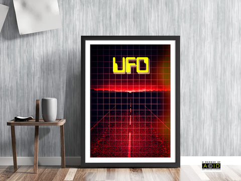 CLOSE ENCOUNTER! retro seventies UFO road art in red foo fighter flying saucer alien visitors extraterrestrial gallery art print unframed