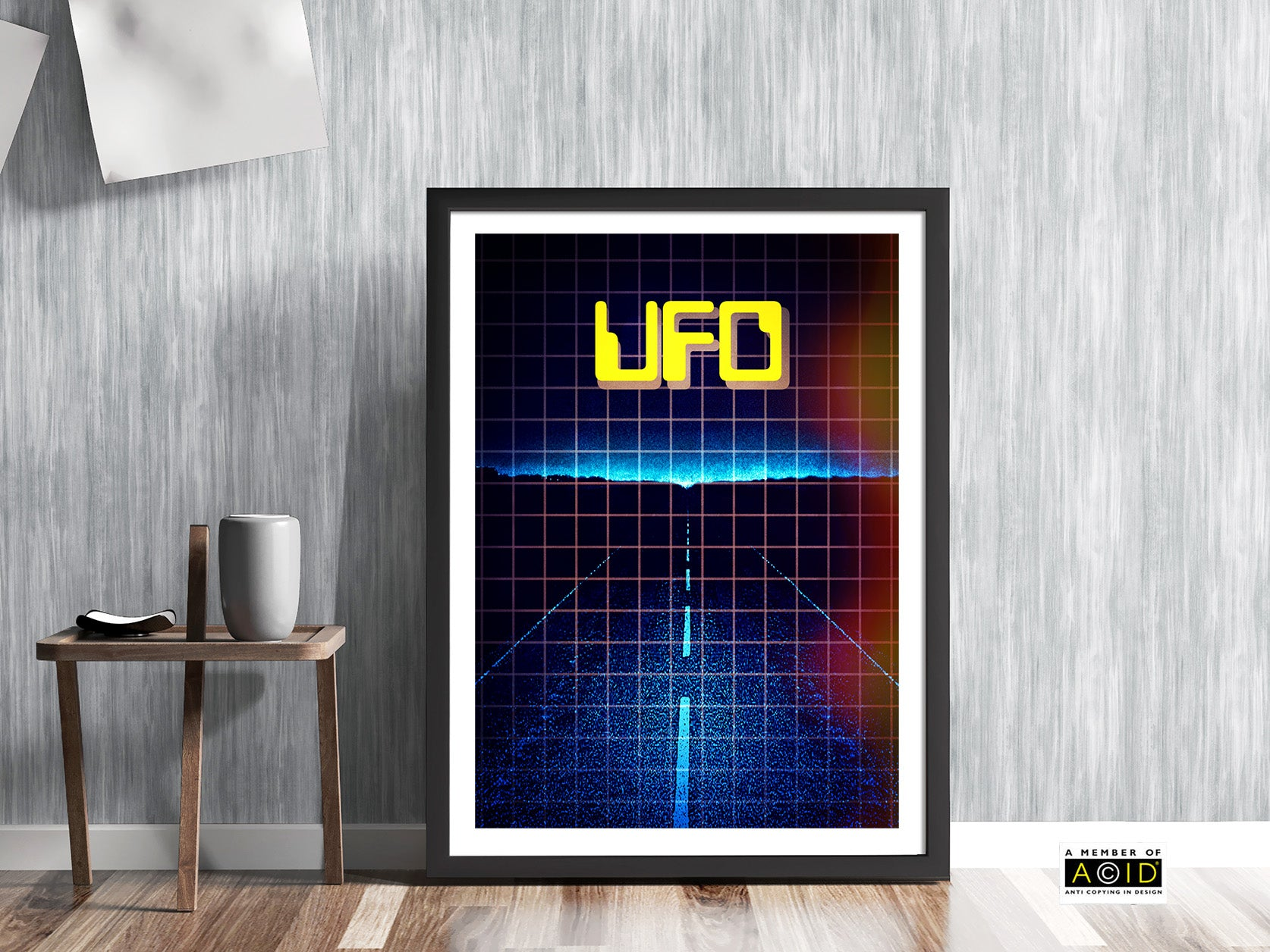 retro seventies UFO dark road at night foo fighter saucer close encounters of the third kind visitors extraterrestrial gallery art print unframed in blue