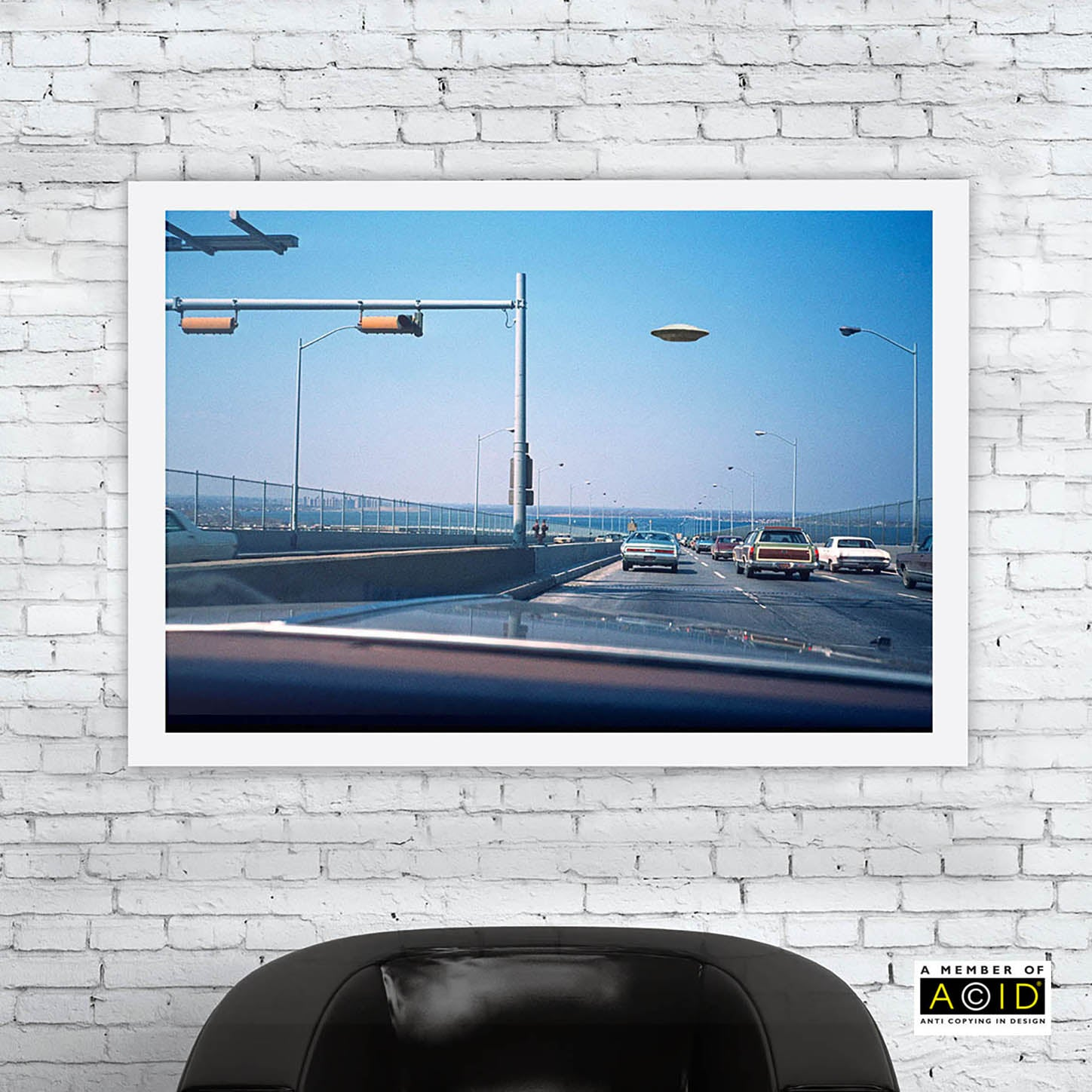 'FREEWAY UFO' ufo vintage driving encounter space travel spaceship Roswell alien craft invasion close encounters extraterrestrials grays we are not alone gallery art print - 'Unframed'