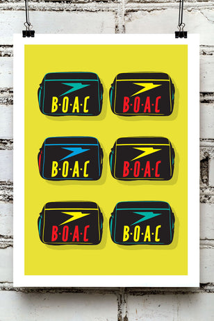 VINTAGE BOAC -  airways logo flying travel airport airlines airplanes aeroplanes aircraft holidays bag motif pop art repeat graphic gallery art print - 'Unframed'