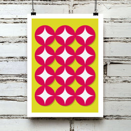 'GEOMETRIC WITH STARS' retro mid century sixties red circles white stars geometric repeat pattern design gallery art print - 'Unframed'