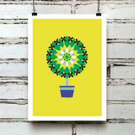 Potted Plant - Traditional vintage folk style flower pot modern botanical graphic gallery art print - 'Unframed'