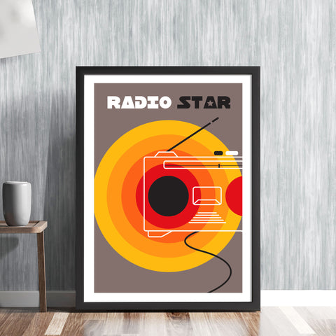 RADIO STAR -  Retro New Wave music track 1979 recording vintage Buggles graphic art illustration design gallery art print - 'Unframed'