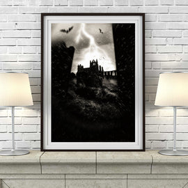 'VAMPIRE ABBEY' retro vintage Whitby Abbey gothic Dracula Shadowmancer GP Taylor graveyard eerie supernatural Emo goth bats gallery art print - 'Unframed'