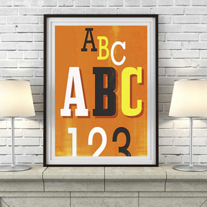 Letters & Numbers -  aged retro typographic print teaching teacher education library art illustration typographic design gallery art print - 'Unframed'