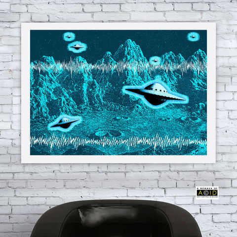 'FLYING SAUCERS' UFO space solar system travel planets alien world blue cyan extraterrestrials grays we are not alone gallery art print - 'Unframed'