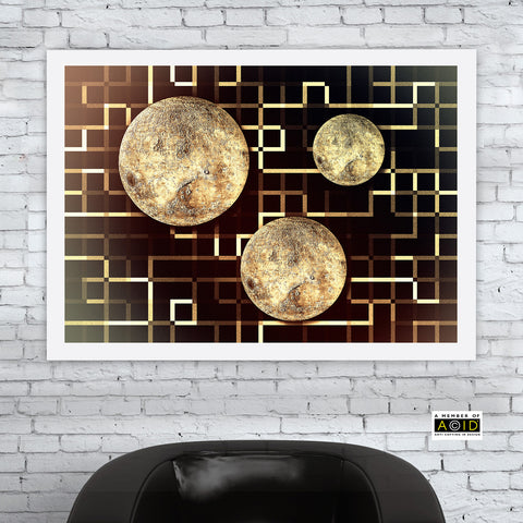 'OPERATION MOON' Mono sepia version retro futuristic moon artist's photo-illustration lunar surface lines space age design gallery art print - 'Unframed'