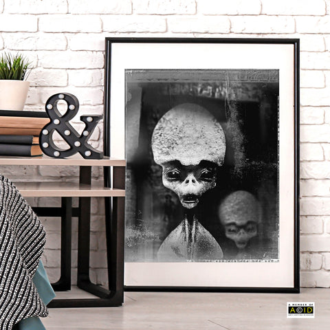 'ANCIENT ALIENS' Nazca desert Peru South America Roswell UFO space travel alien world blue cyan extraterrestrials grays we are not alone gallery art print