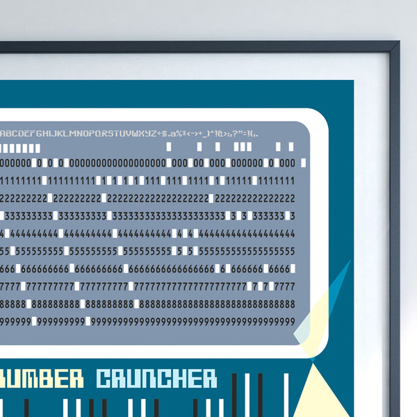 Retro 'number cruncher' 60's computer punched card art print by carnabystreetgallery.com closeup detail of archival print