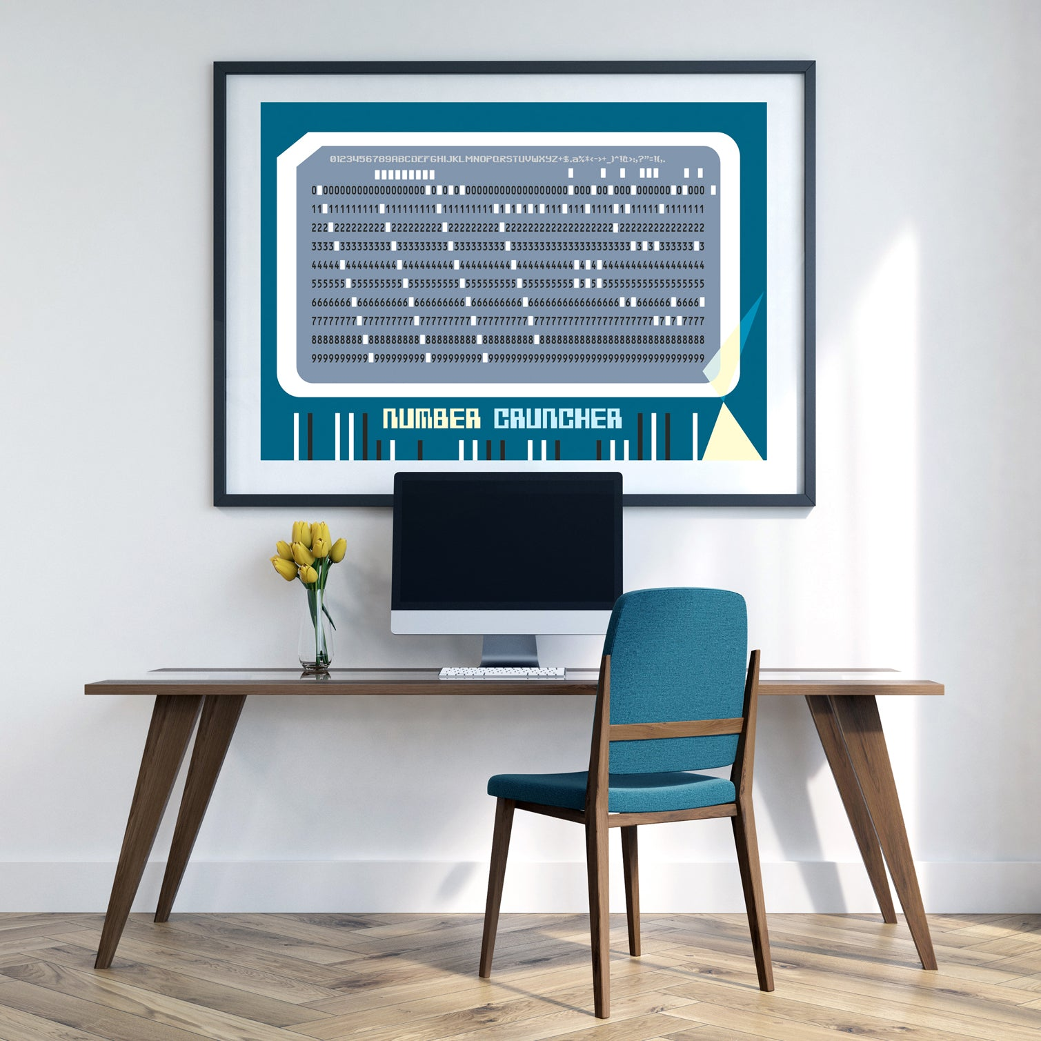 Retro 'number cruncher' 60's computer punched card art print by carnabystreetgallery.com