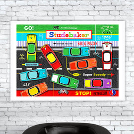 'STUDEBAKER' retro classic American saloon motors automobile car garage illustration mid century Brothers South Bend Indiana vehicle motoring poster gallery art print - 'Unframed'