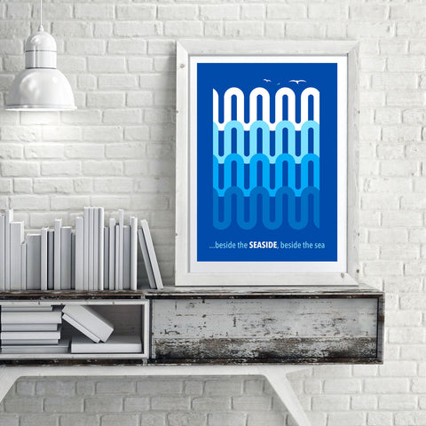Blue Waves contemporary retro Scandinavian art print by Hedvig desh - 'Unframed'