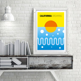 California dreaming! - retro Scandinavian sunshine vector illustration art print by Hedvig desh - 'Unframed' inspired by the Beach Boys music - bringing the summer sunshine to a wall near you  - closeup detail