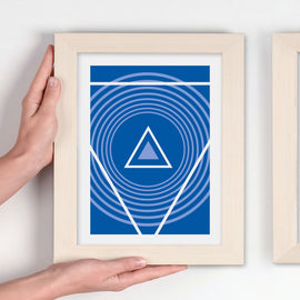 Retro vector lineart in blue! - The beauty of Scandinavian simplicity - 'Unframed' Print