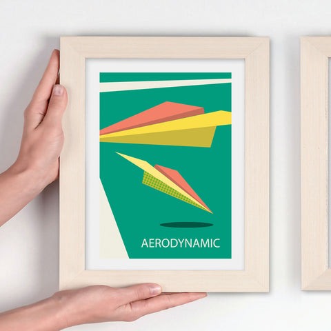 Crisp Contemporary Geometric airplane design on a green background art print - 'Unframed'