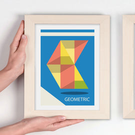GEOMETRIC! - crisp design with clean lines on a blue background art print - 'Unframed' by carnabystreetgallery.com