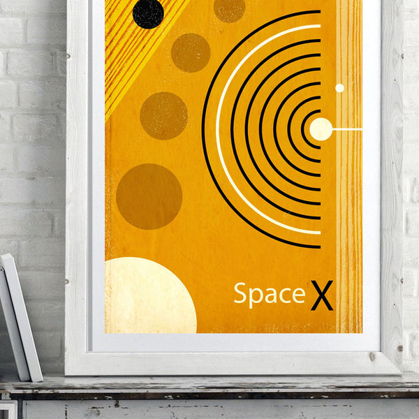 Space X - retro mid century style space exploration art print - 'Unframed' Elon Musk meets vintage NASA in this retro space poster print by carnabystreetgallery.com closeup image