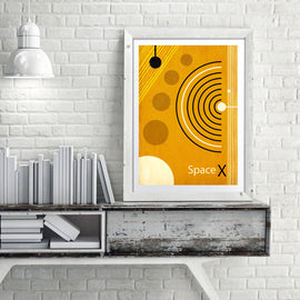 Space X - retro mid century style space exploration art print - 'Unframed' Elon Musk meets vintage NASA in this retro space poster print by carnabystreetgallery.com