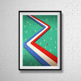 NATIONAL PARK! -  Retro mid century USA forestry freeway United States travel graphic art illustration design gallery art print - 'Unframed'