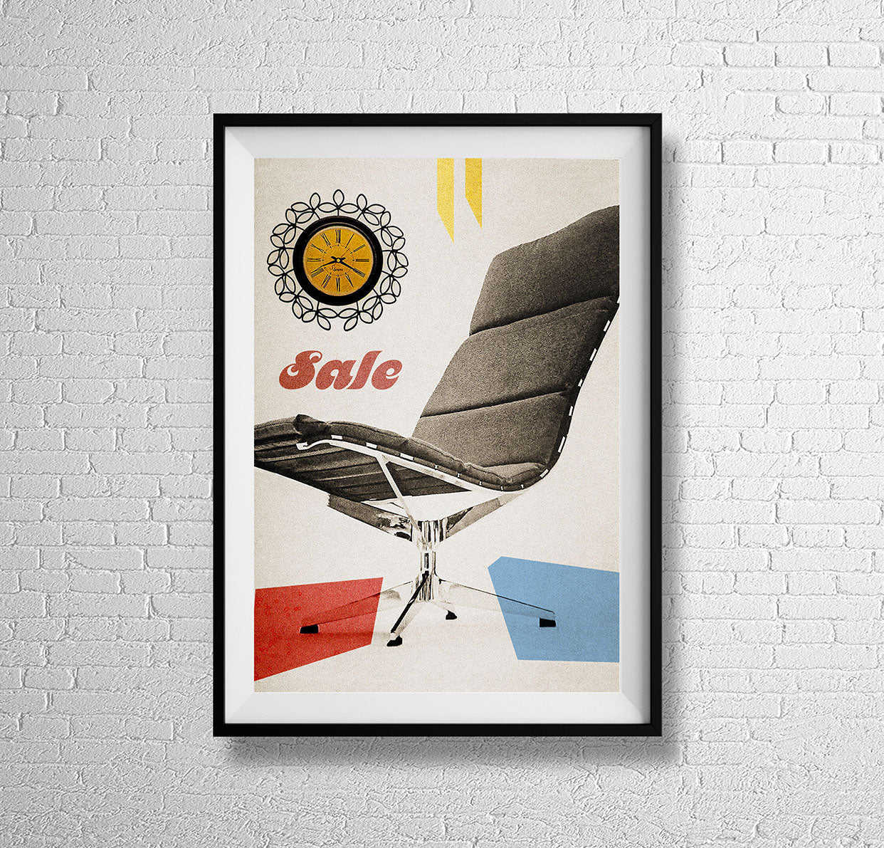 Mid century chair with wall clock -  MCM retro furniture seating advertising interior furnishing art illustration design gallery art print - 'Unframed'