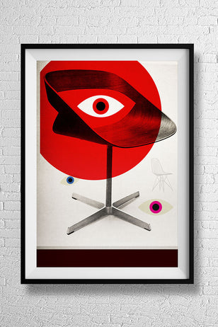MCM Moderism Swivel Chair -  mid century retro furniture seating advertising interior furnishing art illustration design gallery art print - 'Unframed'