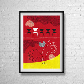 Tonights guest is... -  retro red textured mid century chairs furniture seating advertising with line art clapping hands interior furnishing art illustration design gallery art print - 'Unframed'