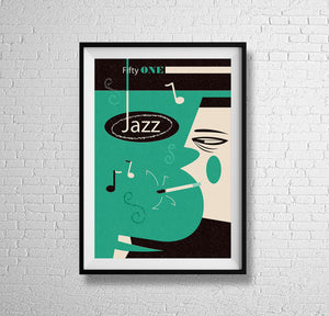 That's Jazz - mid century beats MCM music tunes clubbing retro sound cool art illustration design gallery art print - 'Unframed'