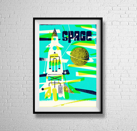 'ROCKET SHIP' retro mid century kids' space cadet science book illustration wall art space rocket spacecraft astronaut gallery art print - 'Unframed'