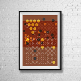 'IN SMALL CIRCLES' retro mid century Minimalism in orange and brown warm colours collectible series gallery art print - 'Unframed'