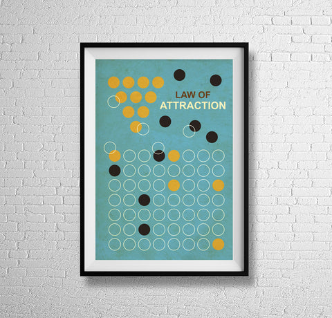 Law of Attraction retro science mid century chemical attraction atomic art print - 'Unframed'