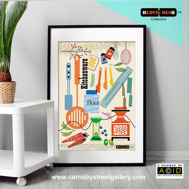 HEDVIG DESH collection retro Scandinavian kitchen cookery cookbook food illustration gallery art print - 'Unframed'