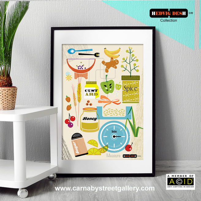 HEDVIG DESH collection Scandinavian cookbook retro kitchen cookery food illustration gallery art print - 'Unframed'