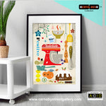 CHRISTMAS festive retro Scandinavian kitchen food mixer yuletide cooking KitchenAid lover or owner cookbook food illustration by Hedvig Desh collection gallery art print - 'Unframed'