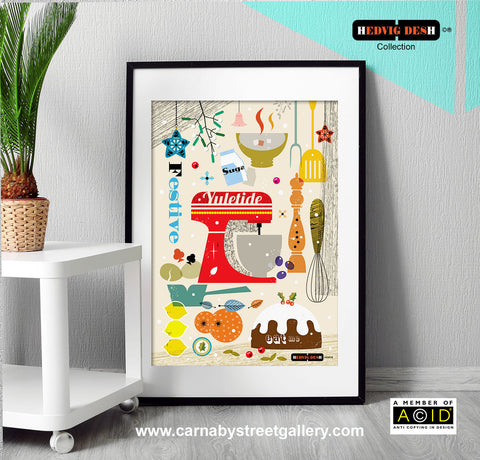 Scandinavian mid century Christmas Mixer kitchen print cookery cookbook art - 'Unframed'