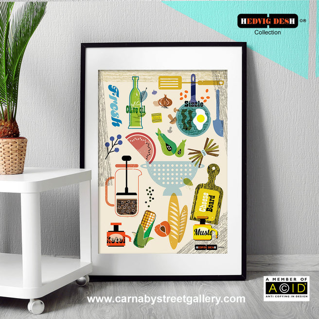 SCANDINAVIAN COOKBOOK retro mid century cookery food illustration by Hedvig Desh collection gallery art print - 'Unframed'