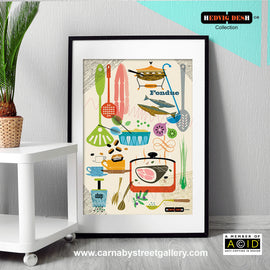 SCANDINAVIAN KITCHEN COOKBOOK retro mid century cookery food illustration by Hedvig Desh collection gallery art print - 'Unframed'