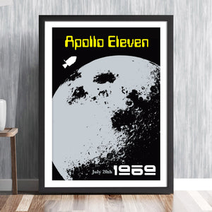'APOLLO 11' Commemorative print - Apollo Lunar orbiter Command Module Moon landing NASA space mission Asonaut 1969 Buzz Aldrin Neil Armstrong Michael Collins solar system travel planets astronomy gallery art print by carnaby street