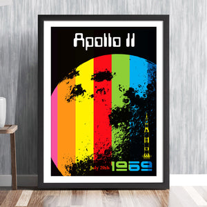 Apollo eleven NASA moon landing commemorative archival print with rocket and rainbow colours