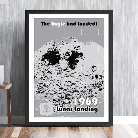 'THE EAGLE HAS LANDED!' Commemorative print - Moon lunar landin Apollo 11 NASA space mission Astronaut 1969 Buzz Aldrin Neil Armstrong Michael Collins solar system travel planets astronomy gallery art print - 'Unframed'