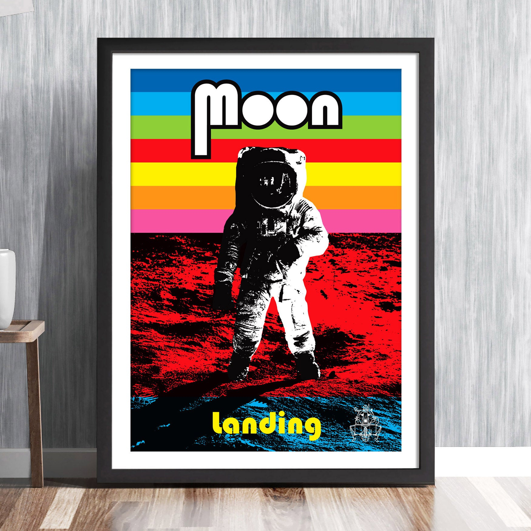 'MOON LANDING' Commemorative print - Apollo 11 NASA space mission Astronaut 1969 Buzz Aldrin Neil Armstrong Michael Collins solar system travel planets astronomy gallery art print - 'Unframed'