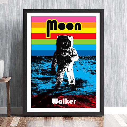 'MOON WALKER' Buzz Aldrin Lunar landing NASA Apollo Moon rainbow pop art space mission Astronaut 1969 solar system travel planets astronomy gallery art print - 'Unframed'