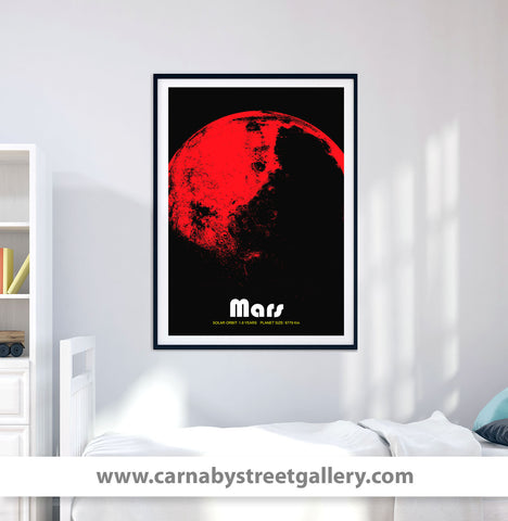 'Mars' red planet solar system space travel god of war collectible planets astronomy gallery art print - 'Unframed'