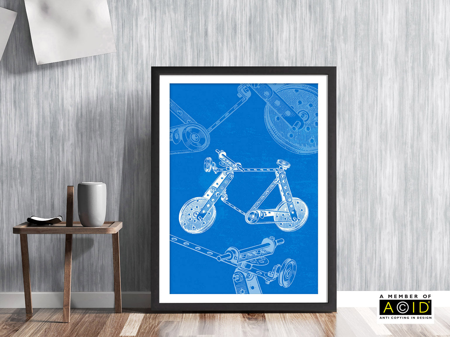 Meccano Bicycle vintage blue patent drawing illustration art print - 'Unframed'